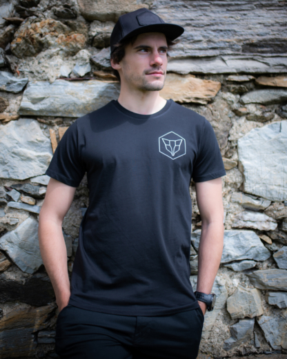 T-Shirt Fuchs Lowpoly Schwarz