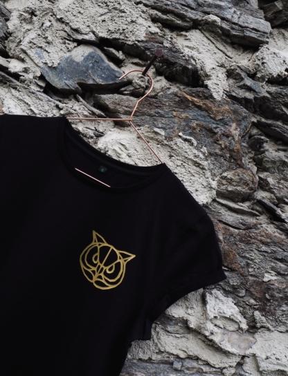 T-Shirt Eule schwarz detail