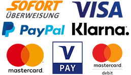 Du kannst bei uns bezahlen mit Sofortüberweisung (Klarna), PayPal, Kreditkarte (Mastercard und Visa) sowie mit Debitkarten (Mastercard Debit und V PAY)